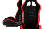 Cipher® - CPA1018 Series Black Cloth with Red Trim Racing Seats, Front and Side View