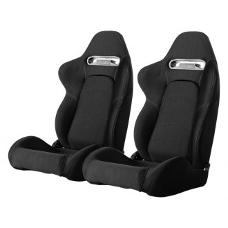 Cipher® - CPA1019 Series Black Cloth with Suede Insert and Gray Stitching Racing Seats