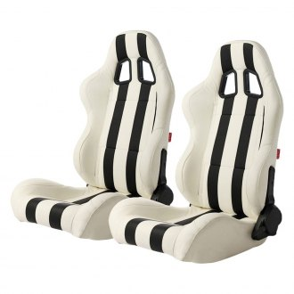 Cipher® - CPA1026 Series White Leatherette with Black Stripes Racing Seats