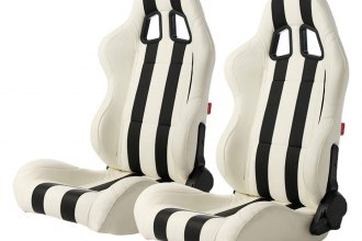 Cipher® CPA1026PWH-BK - CPA1026 Series White Leatherette with Black Stripes Racing Seats