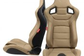 Cipher® - CPA2001 Euro Series Beige Leatherette with Carbon Fiber Inserts and Black Stitching Racing Seats, Front and Side View