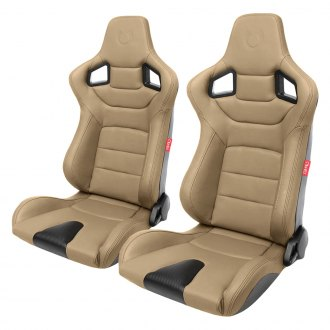 Cipher® - CPA2001 Euro Series Beige Leatherette with Carbon Fiber Inserts and Brown Stitching Racing Seats