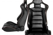 Cipher® - CPA2001 Euro Series Black Leatherette with Carbon Fiber Inserts Racing Seats, Front and Side View