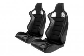 Cipher® - CPA2001 Euro Series Black Leatherette with Carbon Fiber Inserts and Blue Stitching Racing Seats