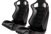 Cipher® - CPA2001 Euro Series Black Leatherette with Carbon Fiber Inserts and Red Stitching Racing Seats