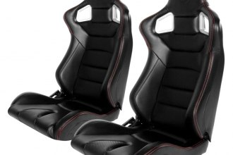 Cipher® CPA2001PCFBK-R - CPA2001 Euro Series Black Leatherette with Carbon Fiber Inserts and Red Stitching Racing Seats