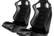 Cipher® - CPA2001 Euro Series Black Leatherette with Carbon Fiber Inserts and White Stitching Racing Seats