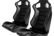 Cipher® - CPA2001 Euro Series Black Leatherette with Carbon Fiber Inserts Racing Seats