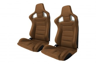 Cipher® - CPA2001 Euro Series Brown Leatherette with Carbon Fiber Inserts and Black Stitching Racing Seats