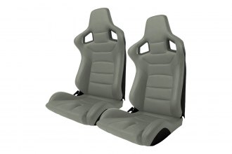 Cipher® - CPA2001 Euro Series Gray Leatherette with Carbon Fiber Inserts and Black Stitching Racing Seats