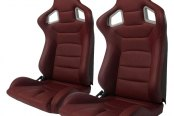 Cipher® - CPA2001 Euro Series Maroon Leatherette with Carbon Fiber Inserts and Black Stitching Racing Seats