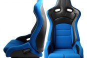 Cipher® - CPA2002 Viper Series Blue Cloth with Carbon Fiber Racing Seats, Front and Side View