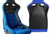 Cipher® - CPA2002 Viper Series Blue Cloth with Carbon Fiber Racing Seats, Side Angle and Back View