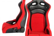 Cipher® - CPA2002 Viper Series Red Cloth with Carbon Fiber Inserts Racing Seats, Front and Side View