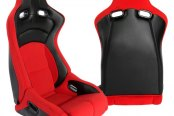 Cipher® - CPA2002 Viper Series Red Cloth with Carbon Fiber Inserts Racing Seats, Side Angle and Back View