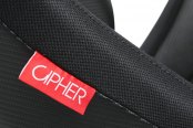 Cipher® - CPA2003 VP-8 Series Black Cloth with Black Leatherette and Silver Carbon Fiber Inserts Racing Seats