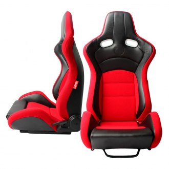 Cipher® - CPA2003 VP-8 Series Red Cloth with Black Leatherette and Black Carbon Fiber Inserts Racing Seats, Front and Side View