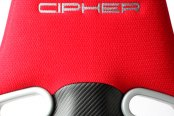 Cipher® - CPA2003 VP-8 Series Red Cloth with Black Leatherette and Black Carbon Fiber Inserts Racing Seats