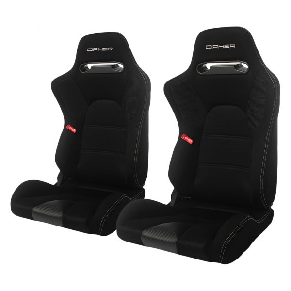 Cipher® - CPA2006 E-9 Series Black Cloth with Anti Slip and Carbon Fiber Inserts Racing Seats