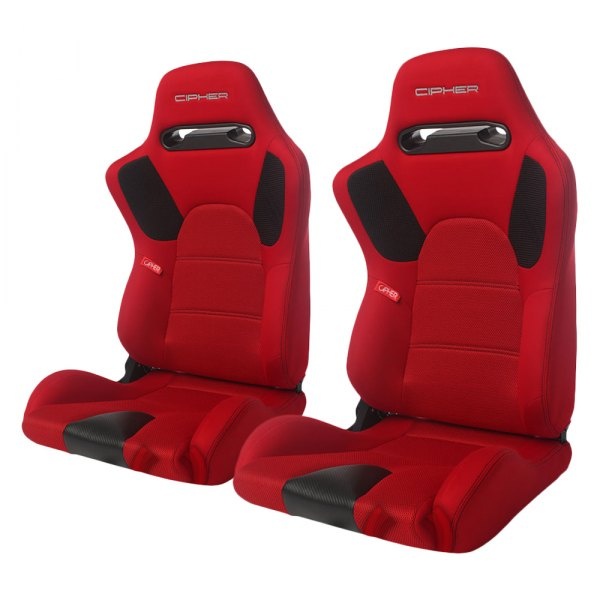 Cipher® - CPA2006 E-9 Series Red Cloth with Anti Slip and Carbon Fiber Inserts Racing Seats
