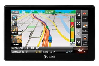 "Cobra® - 7"" Professional Navigation With Live Weather Fuel Prices Traffic and Lifetime Map Updates"