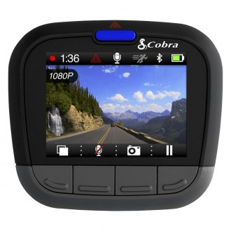"Cobra® - Drive HD™ Dash Camera with Built-in 2.0"" Screen Bluetooth/Smart Enabled GPS and iRadar Alerts"