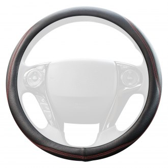 Coleman® - Genuine Leather Steering Wheel Cover with Red Stitch