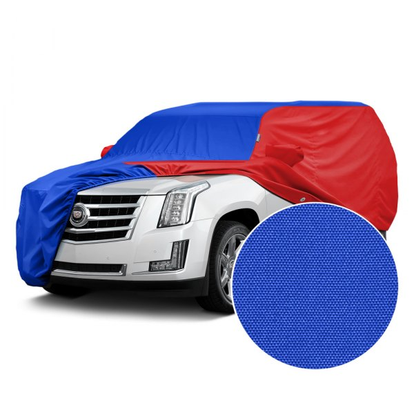 Covercraft® - WeatherShield™ HP Two-Tone Custom Car Cover with Bright Blue Center and Red Sides