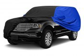 Image may not reflect your exact vehicle! Covercraft® - WeatherShield™ HP Two-Tone Custom Car Cover with Black Center and Bright Blue