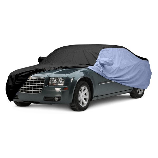 Image may not reflect your exact vehicle! Covercraft® - WeatherShield™ HP Two-Tone Custom Car Cover with Black Center and Light Blue Sides