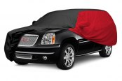 Image may not reflect your exact vehicle! Covercraft® - WeatherShield™ HP Two-Tone Custom Car Cover with Black Center and Red Sides