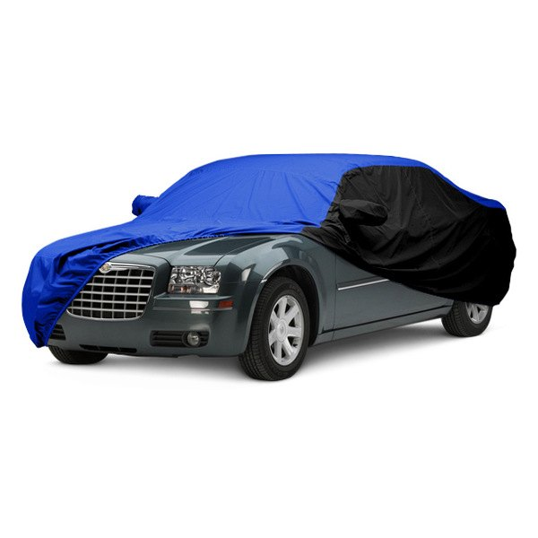 Image may not reflect your exact vehicle! Covercraft® - WeatherShield™ HP Two-Tone Custom Car Cover with Bright Blue Center and Black Sides