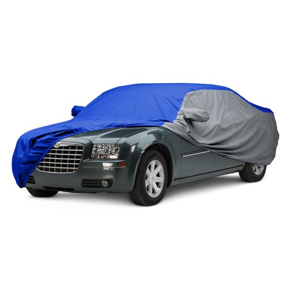 Image may not reflect your exact vehicle! Covercraft® - WeatherShield™ HP Two-Tone Custom Car Cover with Bright Blue Center and Gray Sides