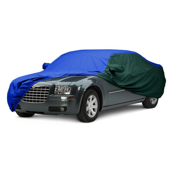 Image may not reflect your exact vehicle! Covercraft® - WeatherShield™ HP Two-Tone Custom Car Cover with Bright Blue Center and Green Sides