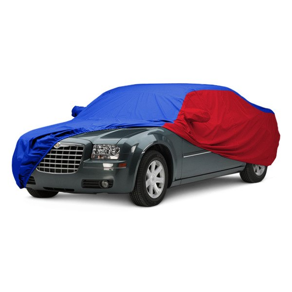 Image may not reflect your exact vehicle! Covercraft® - WeatherShield™ HP Two-Tone Custom Car Cover with Bright Blue Center and Red Sides