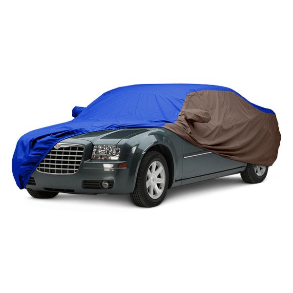 Image may not reflect your exact vehicle! Covercraft® - WeatherShield™ HP Two-Tone Custom Car Cover with Bright Blue Center and Taupe Sides