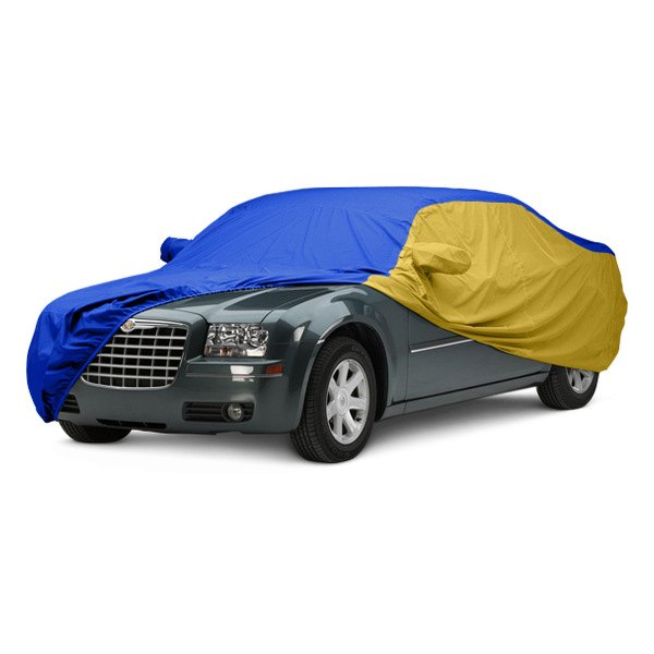 Image may not reflect your exact vehicle! Covercraft® - WeatherShield™ HP Two-Tone Custom Car Cover with Bright Blue Center and Yellow Sides