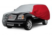 Image may not reflect your exact vehicle! Covercraft® - WeatherShield™ HP Two-Tone Custom Car Cover with Gray Center and Red Sides