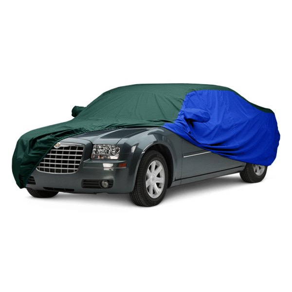 Image may not reflect your exact vehicle! Covercraft® - WeatherShield™ HP Two-Tone Custom Car Cover with Green Center and Bright Blue Sides