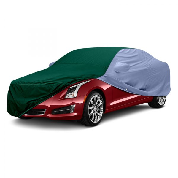 Image may not reflect your exact vehicle! Covercraft® - WeatherShield™ HP Two-Tone Custom Car Cover with Green Center and Light Blue Sides