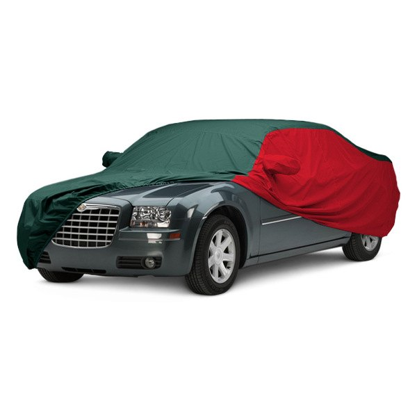 Image may not reflect your exact vehicle! Covercraft® - WeatherShield™ HP Two-Tone Custom Car Cover with Green Center and Red Sides