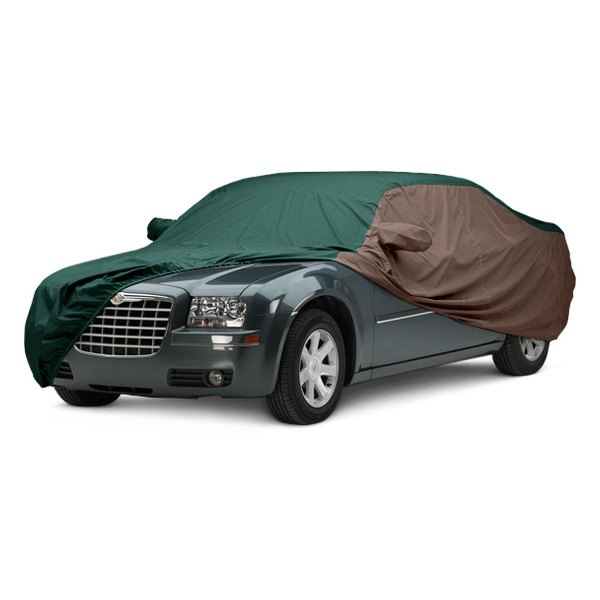 Image may not reflect your exact vehicle! Covercraft® - WeatherShield™ HP Two-Tone Custom Car Cover with Green Center and Taupe Sides