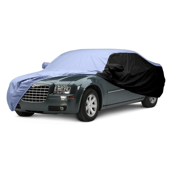 Image may not reflect your exact vehicle! Covercraft® - WeatherShield™ HP Two-Tone Custom Car Cover with Light Blue Center and Black Sides