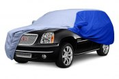 Image may not reflect your exact vehicle! Covercraft® - WeatherShield™ HP Two-Tone Custom Car Cover with Light Blue Center and Bright Blue Sides