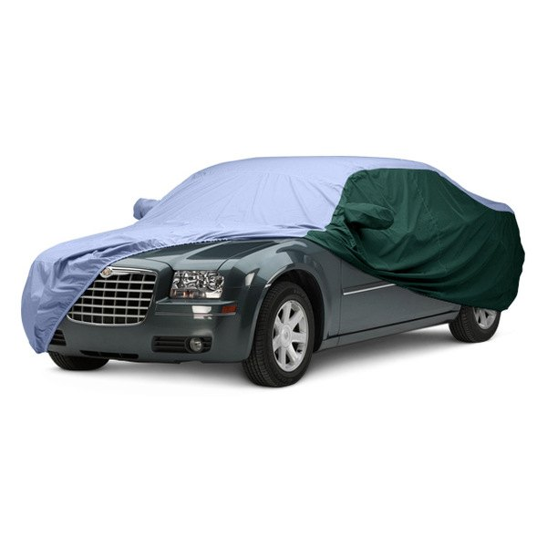 Image may not reflect your exact vehicle! Covercraft® - WeatherShield™ HP Two-Tone Custom Car Cover with Light Blue Center and Green Sides