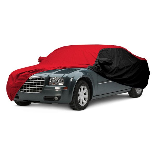 Image may not reflect your exact vehicle! Covercraft® - WeatherShield™ HP Two-Tone Custom Car Cover with Red Center and Black Sides
