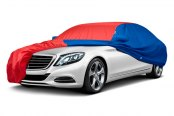 Image may not reflect your exact vehicle! Covercraft® - WeatherShield™ HP Two-Tone Custom Car Cover with Red Center and Bright Blue Sides
