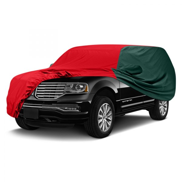 Image may not reflect your exact vehicle! Covercraft® - WeatherShield™ HP Two-Tone Custom Car Cover with Red Center and Green Sides