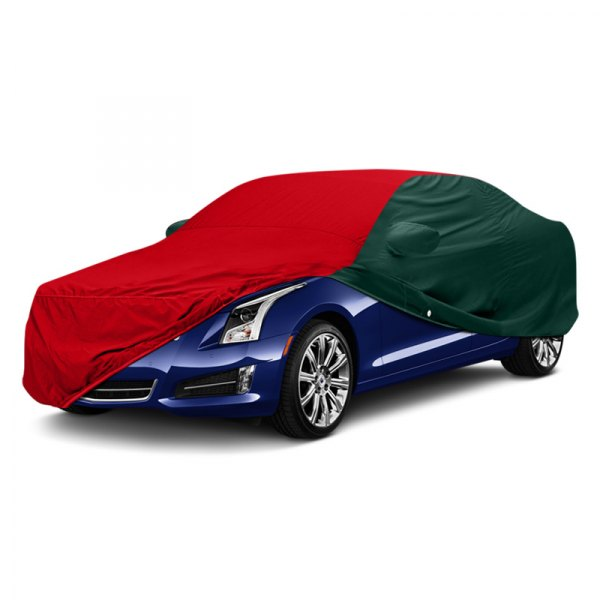 Image may not reflect your exact vehicle! WeatherShield™ HP Two-Tone Custom Car Cover with Red Center and Green Sides