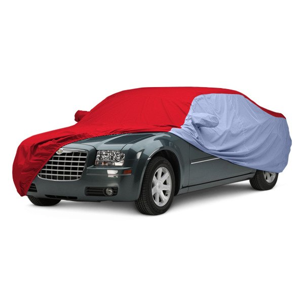 Image may not reflect your exact vehicle! Covercraft® - WeatherShield™ HP Two-Tone Custom Car Cover with Red Center and Light Blue Sides